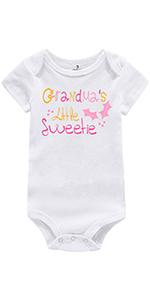 Newborn Baby Girl One-Piece Rompers Grandma's Little Sweetie Print Cotton Bodysuit Clothing