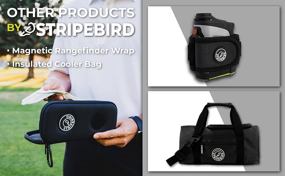 stripebird magnetic rangefinder wrap holder, golf cooler bag.
