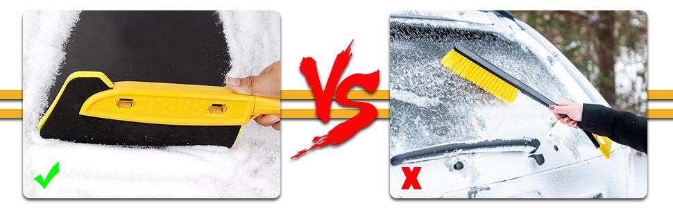 Freesoo Auto Reinigungsbürste Eiskratzer 2 In 1 Eisschaber Schneebesen Mit Mikrofasertücher Abnehmbarer Schneebürste Blatt Und Blütenstaubsbürste Schneebesen Für Pkw Lkw Und Suv 74cm Auto