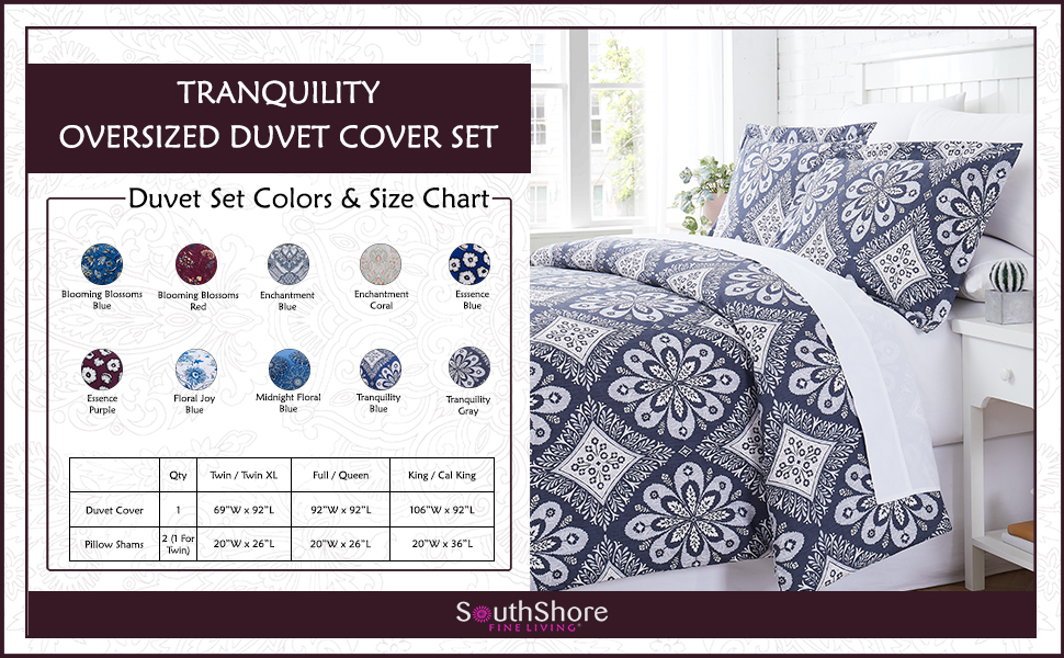 Tranquility Duvet Cover Size Chart