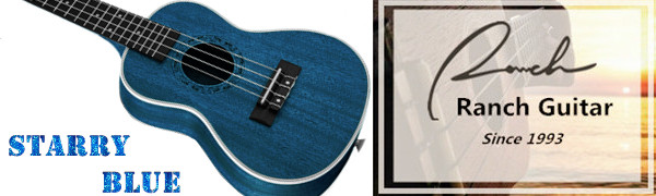 Concert Ukulele Ranch 23 inch with Free Online 12 Lessons Gig Bag Starry Blue