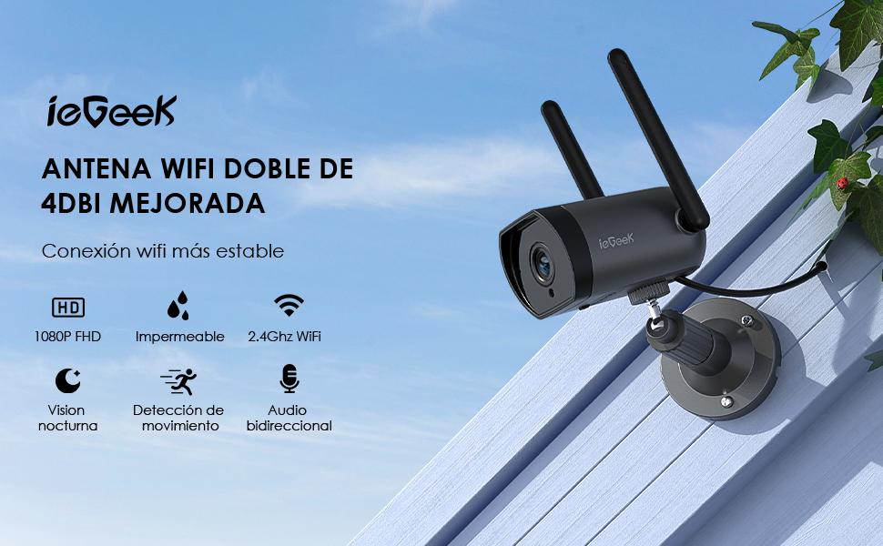 ieGeek Camara de Vigilancia Exterior con Doble Antena WiFi, Cámara de Seguridad 1080P, Camara IP Exterior WiFi 4dBi, Detección de Movimiento, Audio ...