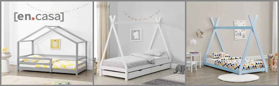 lit d'enfant tipi cabane forme maison stylé design barrière anti-chutes tiroirs de rangement matelas