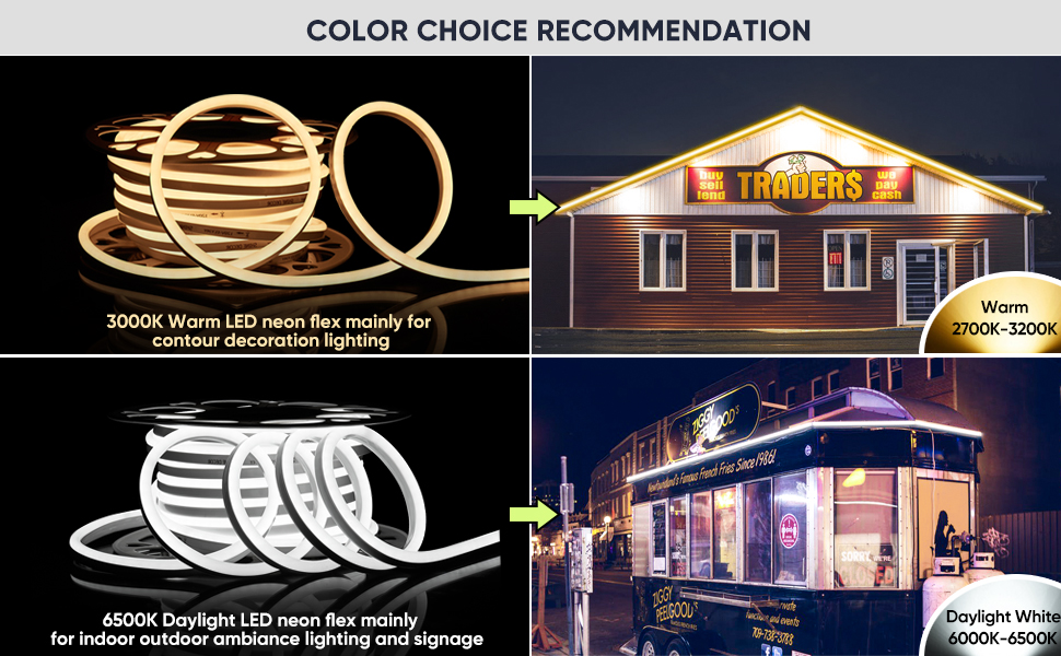 Shine Decor LED Neon Rope Light Warm White Rope Lights Outdoor LED Neon Strip