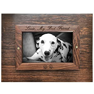 photo frame with dalamation dug and sample text on wood urn