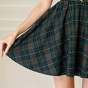 Allegra K Women's Tartan Plaid Button Decor Flare Skater Suspender Skirt