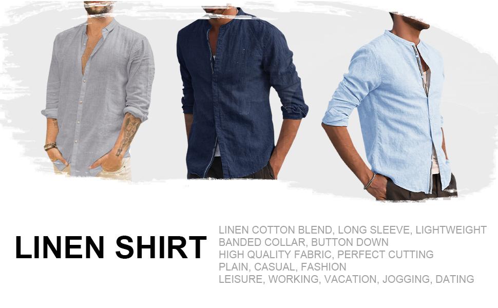 Linen Shirt Long sleeve Summer Shirts men Casual Fashion Vintage