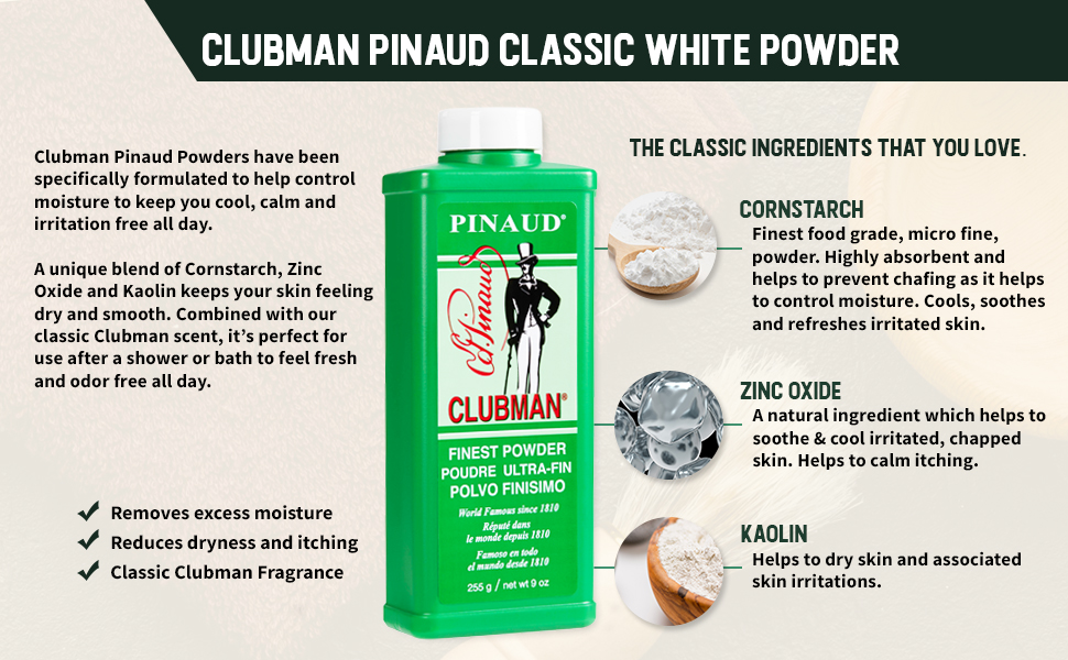 Clubman Pinaud White Powder 9oz Original, 3 Pack