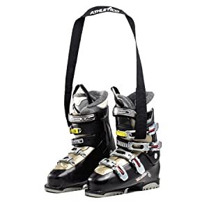 Athletico Ski boot carrier strap holding boots, closed loop ends