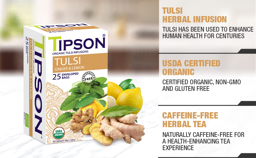 tulsi peppermint herbal tea cinnamon spice caffeine free organic usda