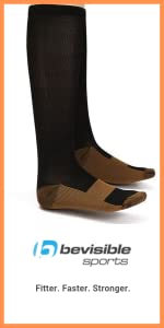 copper compression socks knee high calf foot support travel work office sock