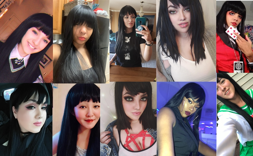 Women's Silky Long Straight Black Wig Heat Resistant Synthetic Wig With Bangs Hair Wig for Women