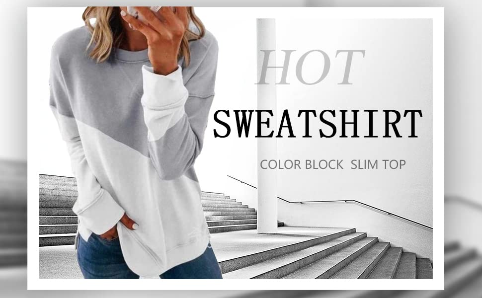color block sweatshirt for women fall clothes long sleeve grey and white pullover