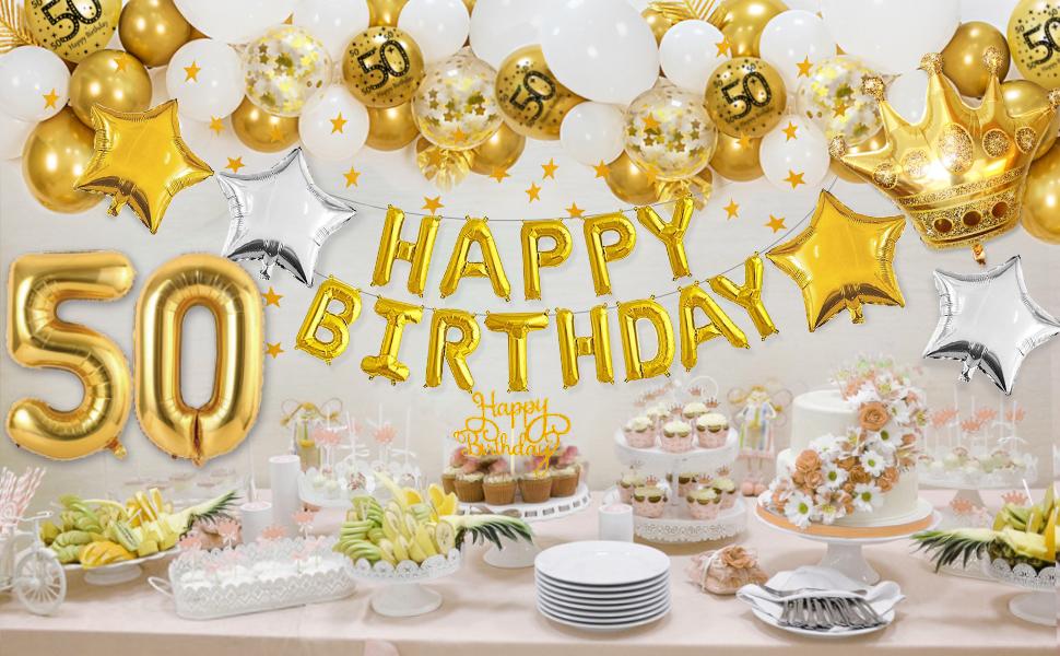 Banda Banderines y Confeti para Fiesta Aniversario Boda 50 Juego de 25 Decoraciones de 50 Aniversario Incluye Globos de Happy Golden 50th Anniversary Bandera de Aniversario Bodas de Oro