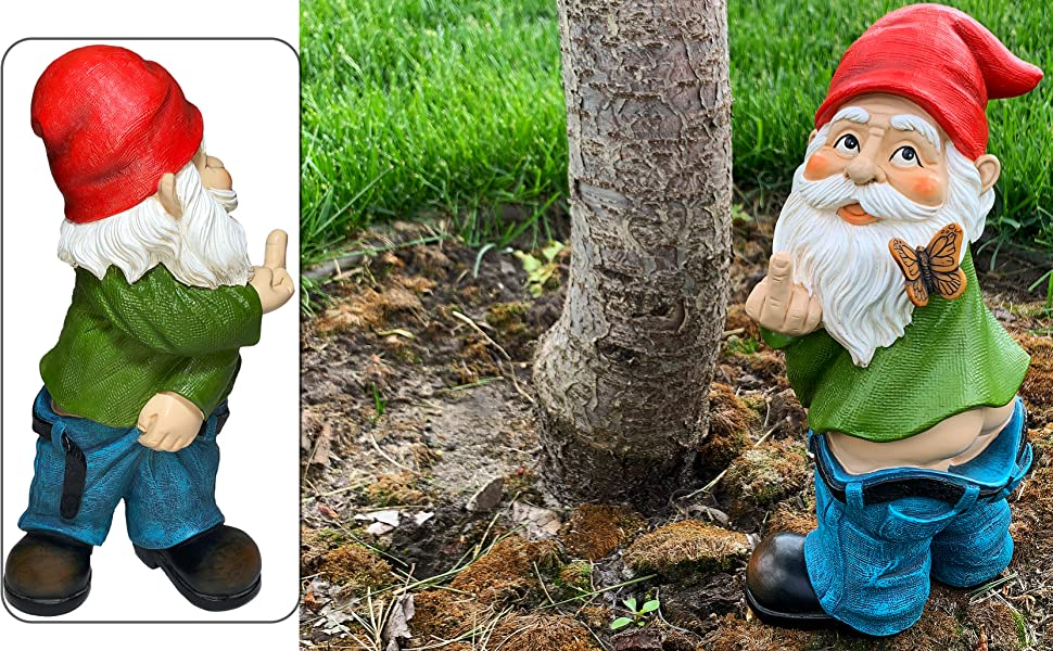 Garden Gnome zen House Fairy set Miniature Figurines Kit Accessories finger peeing Mood Lab