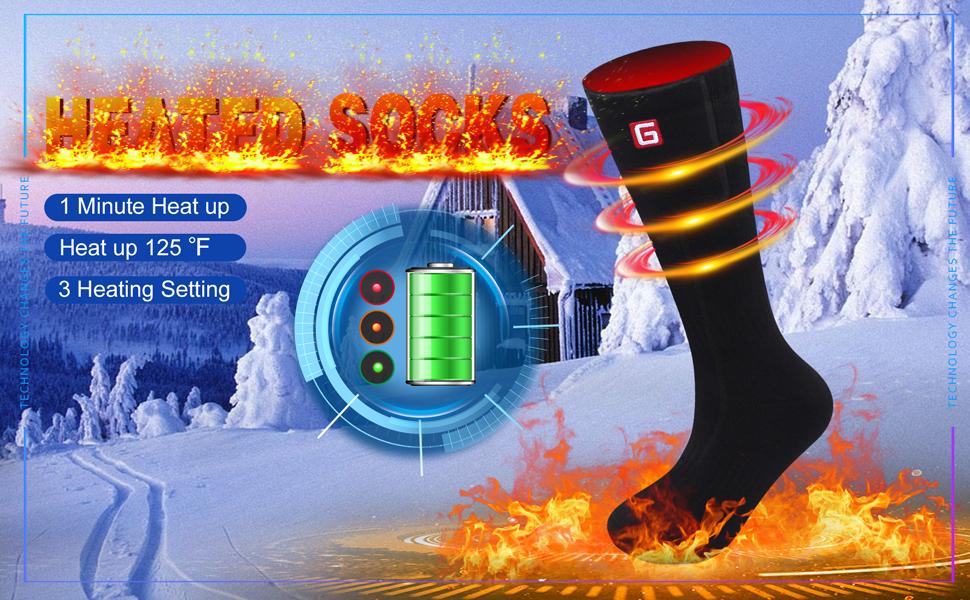 Heated Socks Electric Rechargeable Battery Heating Socks Winter Motorcycle Warm Socks Foot Warmer