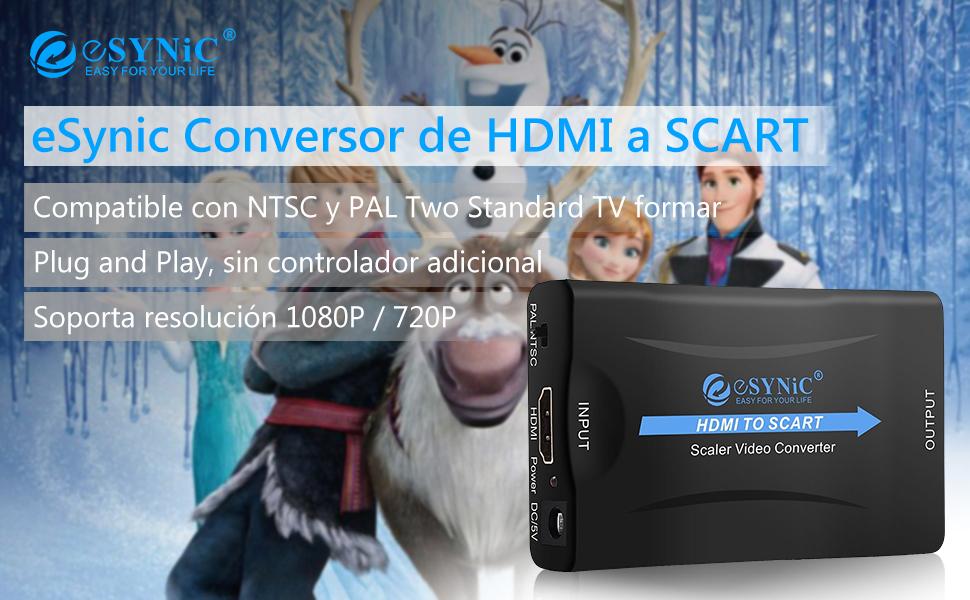 eSynic HDMI a SCART Convertidor HDMI a Euroconector Conversor HD ...