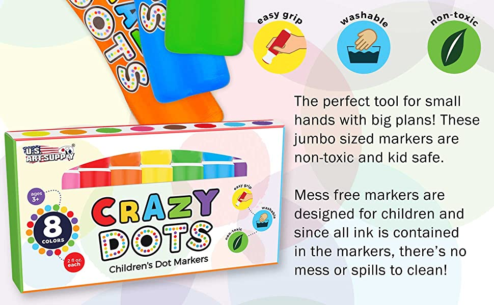 U.S. Art Supply Crazy Dots Childrens Washable Easy-Grip Dot Markers