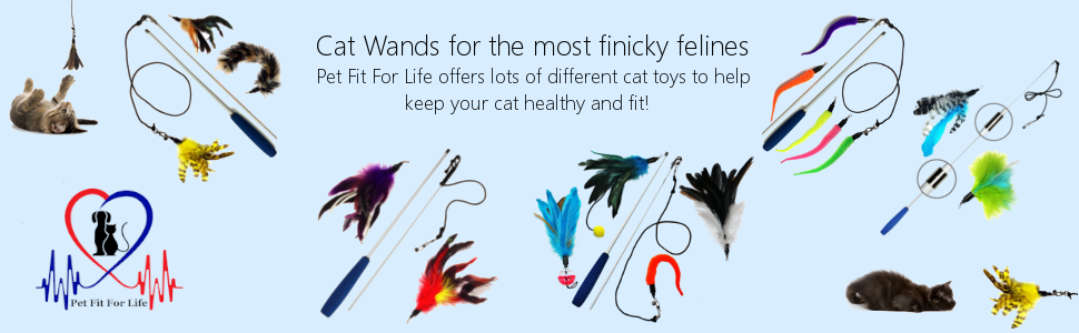 Pet Fit For Life Cat Feather Teaser Toy Assortment