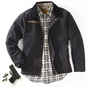 Canvas Jacket Shooting Gun Black Pockets flannel