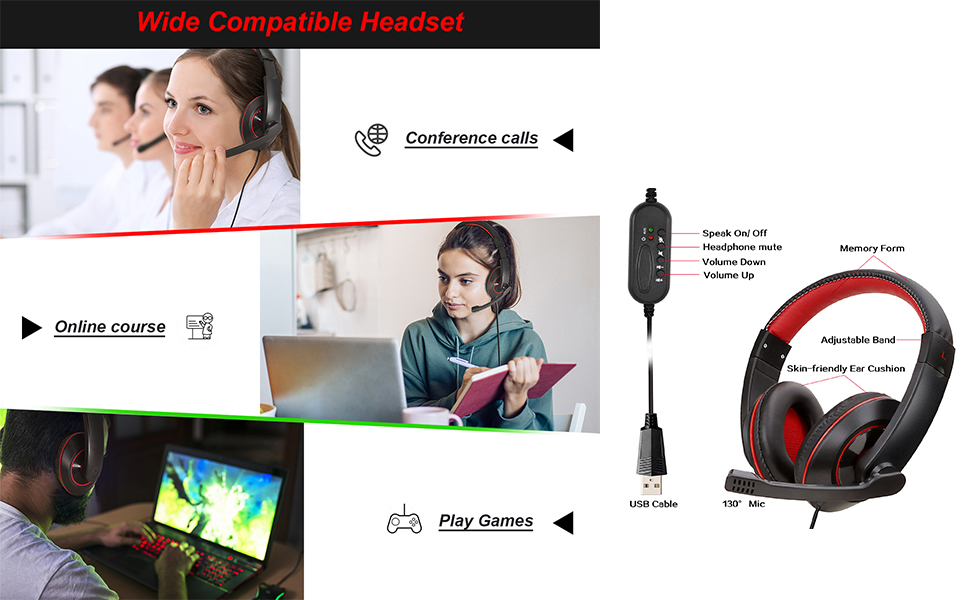 Gaming Headset-7.1 Surround Sound Stereo, Computer USB Headphones with Noise Canceling Mic RGB Light