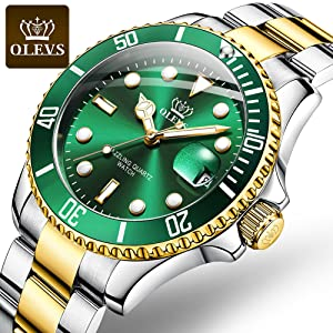 olevs green watch japan movement