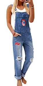 Women's Casual Adjustable Straps Ripped Hole Denim Overalls