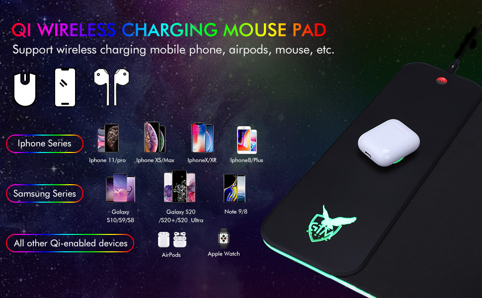 wireless charging mouse pad