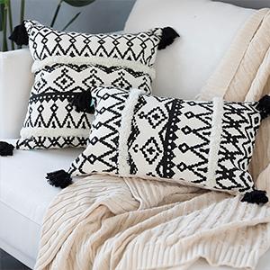 black white throw pillow cover 18x18 12x20 tassels tufed boho moroccan cotton woven