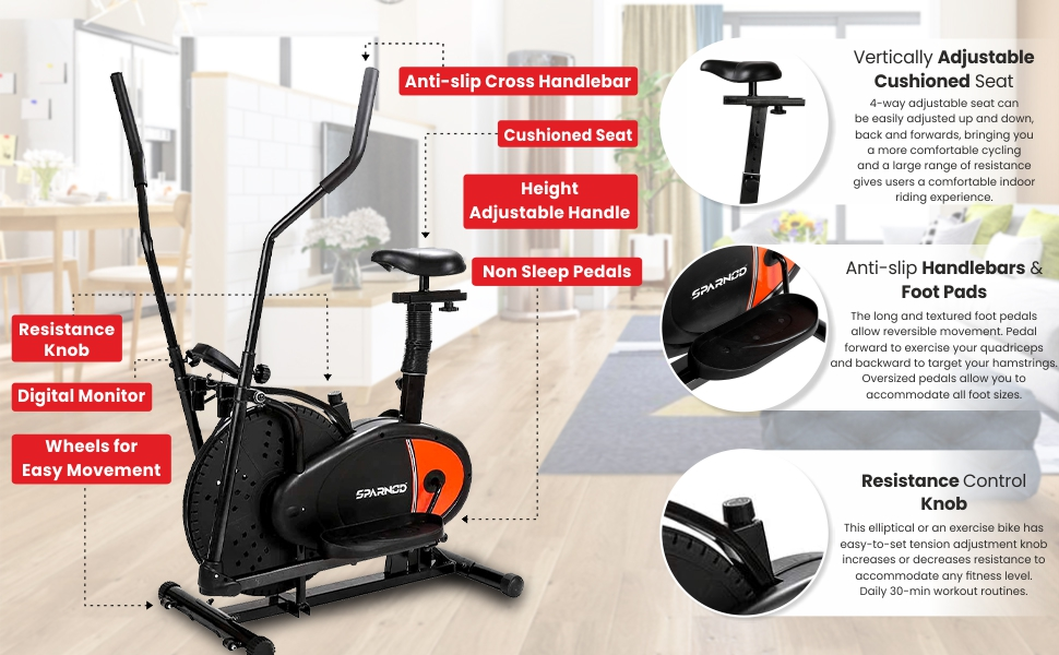 Sparnod Fitness SOB-1000 Dual Orbitrek Elliptical Cross Trainer Exercise Cycle for Home Gym