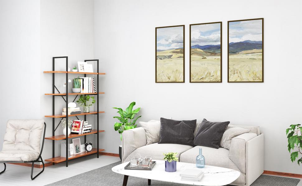120 x 30 x 180 cm camera da letto per ufficio Libreria da terra ad angolo design industriale soggiorno Himimi 5 ripiani