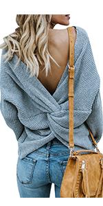 twist knot back knit sweaters