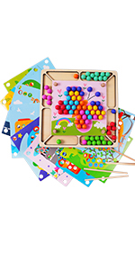 Wooden Educational Montessori Toy Clip Bead Game Toddler Preschool Stacking Learning Toy