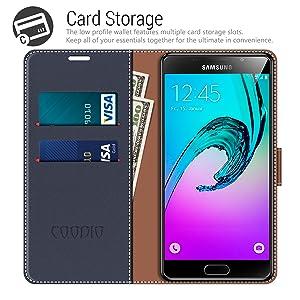 COODIO Coque en Cuir Samsung Galaxy A5 2016, Étui Téléphone Samsung A5 2016, Housse Pochette Galaxy A5 2016 Fonction Stand Etui Coque pour Samsung ...