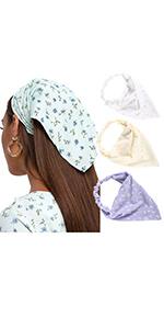Elastic floral head kerchief(Pack of 3)