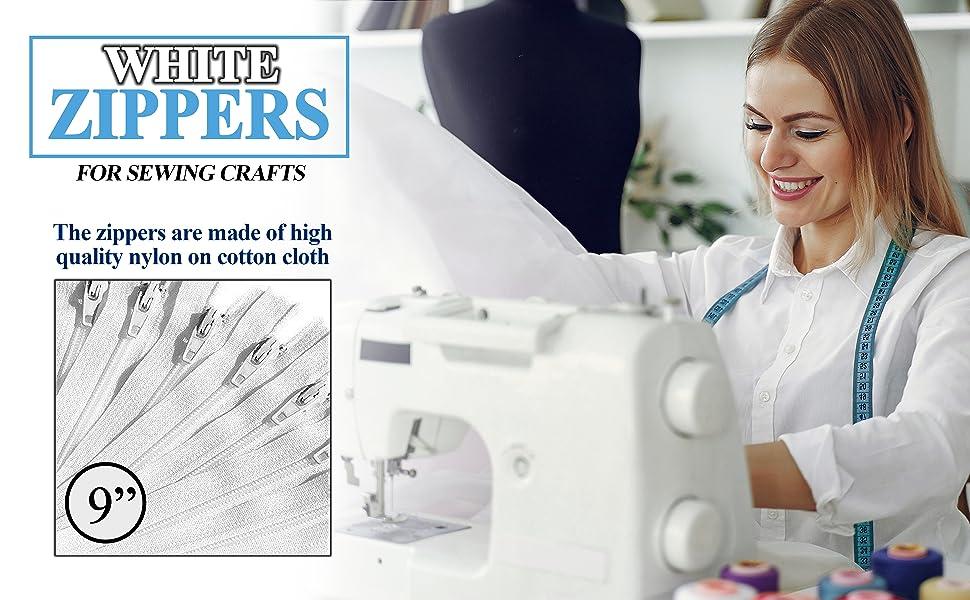 KGS white 15 inch zippers