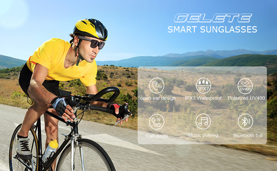 GELETE Polarized Bluetooth Smart Sunglasses