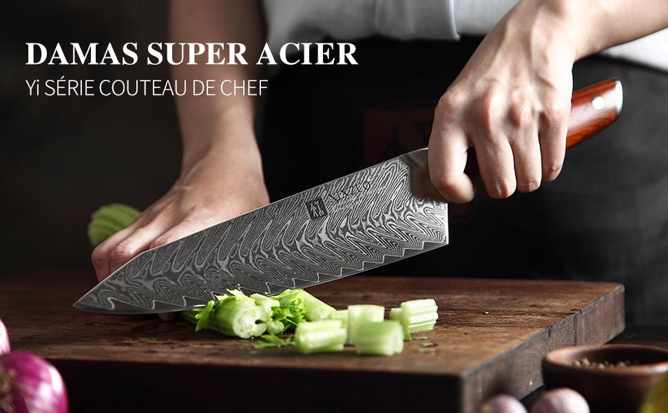 Acier de Damas Série Yi classique 5 Pièces Ensemble de Couteaux