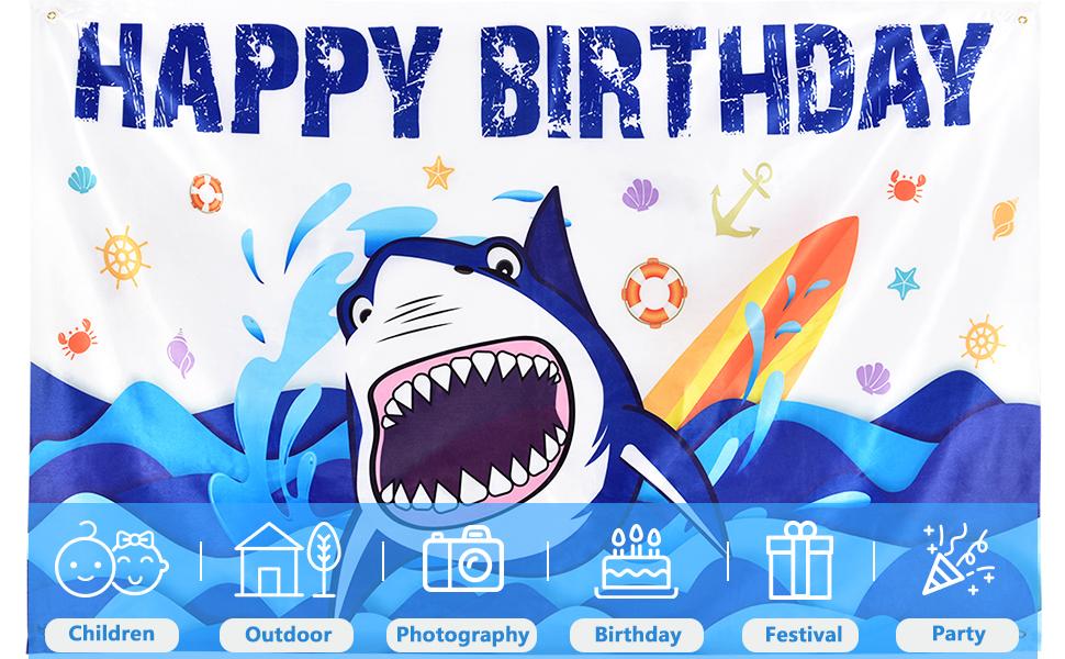shark party backdrop
