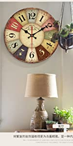 Colorful Wood Rustic Country Wall Clocks for home decoration