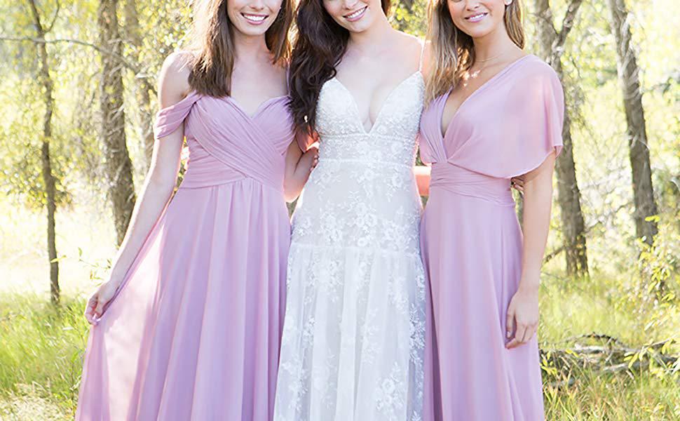 V-Neckline bridesmaid dresses long