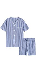 men cotto plaid short sleeves shirt button front shorts pajamas set loungewear