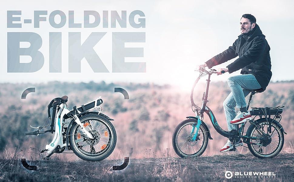 Bluewheel Bicicleta eléctrica de 20 Pulgadas Plegable 14,4/16Ah ...