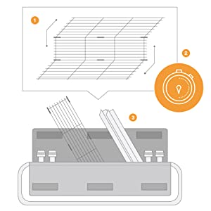 Quick grill set up with folding grill grate design
