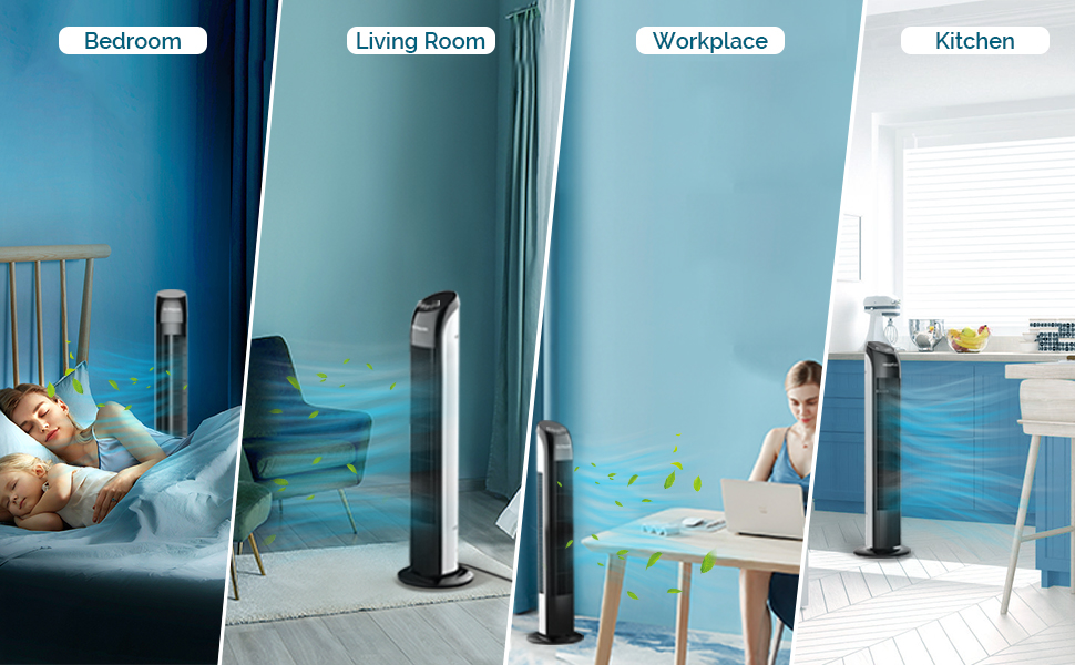tower fan for bedroom living room workplace kitchen sleeping