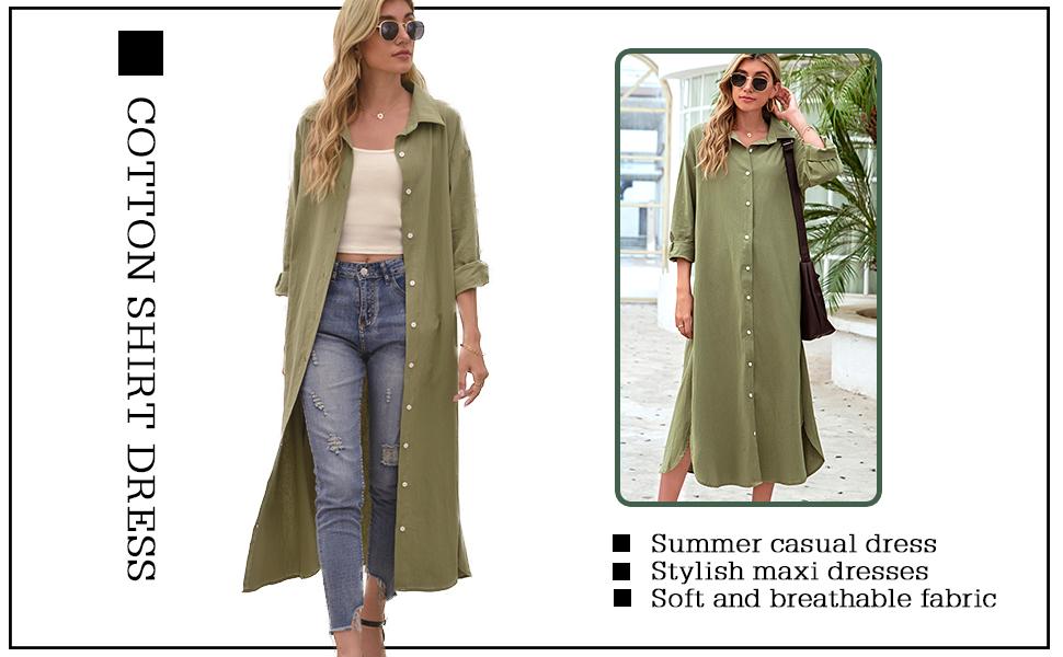 Summer Casual Cotton Linen Shirt Maxi Dress