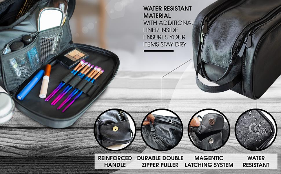 pu leather black travel cosmetic make up organizer kit shaving dopp kit tsa black leather bag
