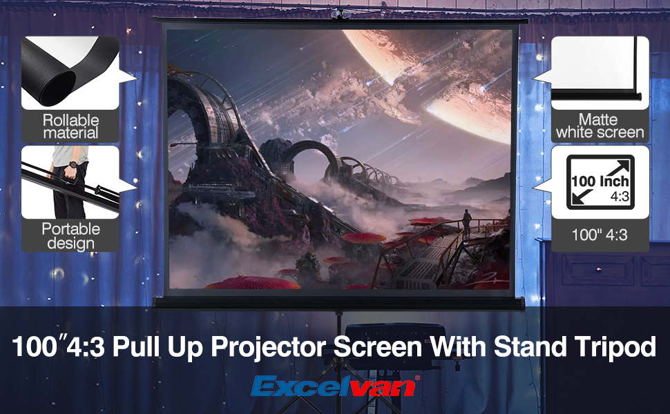 Excelvan 100/'/' 16:9 1080P HD Projector Screen 1080P Movie Game Cinema+Tripods US