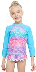 girl long sleeved rash guard swimwear girl kid