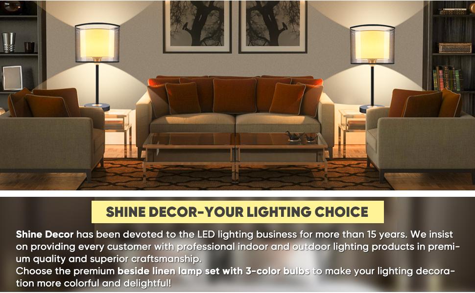 Shine Decor Double Shade LED Bedside Desk Lamps